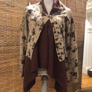 Anthropologie double flower sweater - L/g